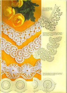 """Crochet Lace. Photos and diagrams ( not in English, but click in ant of the """"BLUE"""" words and you will see photos and diagrams for the beautiful laces. Maybe Google Chrome could help translate."""
