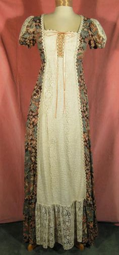 70s Gunne Sax Lace-up Prairie Dress 1970s
