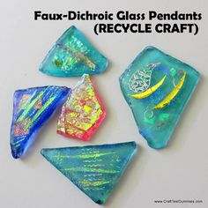 Today I have a fun recycle craft for you- Faux Dichroic Glass Pendants. I love the look of fused glass but don't have the time, tools or inclination! So I came up with this great way to reuse beach glass (or tumbled glass shards) and….wait for it….basket cellophane! Before I get to the tute, let …