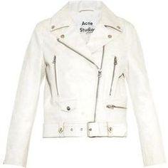 Acne Mock Scratch Leather Biker Jacket in White as seen on Kylie Jenner