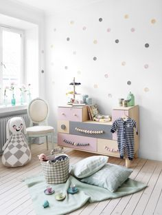 Pastel Colour rose grey mint dots on the wall and beautiful Ikea hack