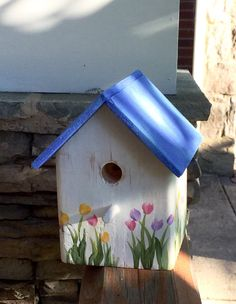 Weathered White & Blue Tulip Bird Cottage by TheSparrowInn on Etsy