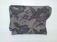 Black clutch with lace Black Clutch, Handmade Bags, Lace, Accessories, Handmade Handbags, Racing, Homemade Bags, Jewelry Accessories