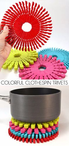 Dollar Store Crafts - Colorful Clothespin Trivets - Best Cheap DIY Dollar Store Craft Ideas for Kids, Teen, Adults, Gifts and For Home - Christmas Gift Ideas, Jewelry, Easy Decorations. Crafts to Make and Sell and Organization Projects http://diyjoy.com/dollar-store-crafts