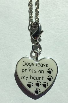 Dogs Leave Prints On My Heart Necklace.  Sister by Lexiandfriends