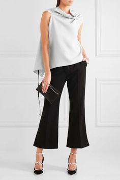 Roland Mouret - Eugene Open-back Draped Wool-crepe Top - Sky blue