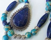 Gorgeous Lapis and sky blue natural beads pendent necklace