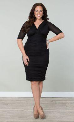 09cbed09932 Kiyonna Womens Dress 2X Black Ruched Betsey Style LBD V Neck Date Night USA   Kiyonna