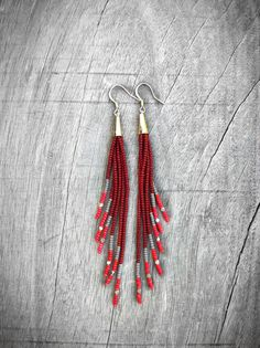 Burgundy Earrings Long Seed Bead Earrings Fringe Native by Kadhi, $44.00