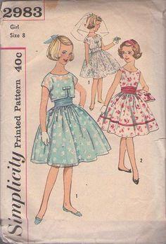MOMSPatterns Vintage Sewing Patterns - Simplicity 2983 Vintage 50's Sewing Pattern BEAUTIFUL Girls First Dance Party, Communion, Flower Girl Eyelet Lace Fancy Formal Dress, Topper Jacket & Cummerbund Sash Size 8
