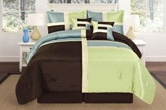 Luxury Queen 90x94 Sage Aqua Brown Square Patchwork Comforter Set * Check out the image by visiting the link.