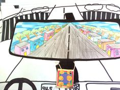 perspective lesson.' In my rear view mirror' Linear Perspective Drawing, Perspective Art, Teaching Drawing, Teaching Art, Landscape Art Lessons, Art Sub Lessons, Art Sub Plans, 6th Grade Art, Mirror Art