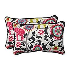Pillow Perfect Outdoor/Indoor Menagerie Spectrum Rectangular Throw Pillow (Set of 2)