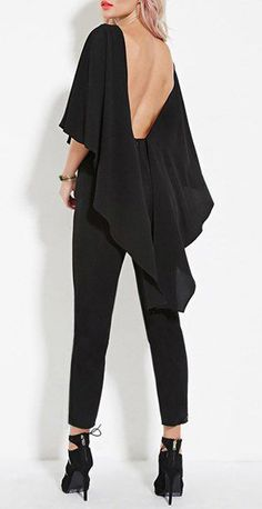 Vogue Scoop Neck Black Open Back Dolman Sleeve Jumpsuit For Women Look Fashion, Fashion Outfits, Womens Fashion, Fashion Design, Look Girl, Looks Chic, Jumpsuit With Sleeves, Jumpsuits For Women, Jumpsuits Uk