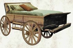 Upcycled old buckboard wagon transformed into a bed