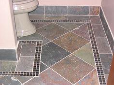 slate floor, I like the tile on the wall too.