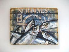 SARDINES SUR PEINTURE DE BATEAU ECAILLEE (Peinture) par Philippe Coeurdevey Petites planches de bois peintes et cirée + collage.
