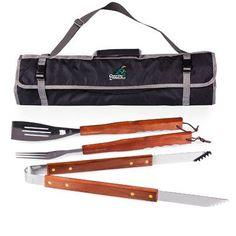 Picnic Time NCAA 3 Piece BBQ Tool Set with Tote Color: Black, NCAA Team: Mississippi State University Bulldogs