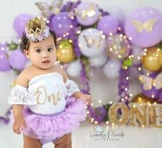"Baby girls first birthday purple outfit with ruffle tutu and lace leotard The NEW addition to our birthday collection is this dainty & sweet 2 pieces first birthday set! Included in this 2 piece set is a white lace off-the-shoulder leotard with a glimmering gold ""ONE"" and matching purple ruffled tulle bloomers. Gold First Birthday Outfit, Baby Girl First Birthday, Baby Fall Fashion, Fashion 2016, Purple Outfits, Girl Outfits, Lace Leotard, Business Baby, Cake Smash Outfit"