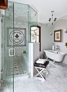 Think outside the box when including a seat in your walk-in shower. This walk-in shower's glass-top knee wall curves outward to provide space inside the shower for a wide marble-clad bench. #showerremodel #showerbenchideas #bathroomideas #walkinshower #bhg Shower Seat, Diy Shower, Glass Shower, Stall Shower, Shower Walls, Shower Niche, Bath Shower, Shower Floor, Small Shower Remodel