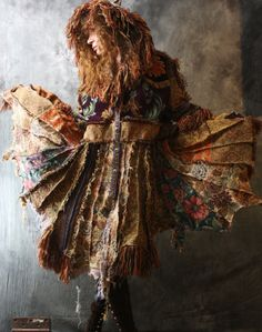 Vintage Tapestry Patchwork Hippie Gypsy Elf Fairy Coat Magical Carpetbagger Fringed Hood and Sleeves Upcycled OOAK on Wanelo Moda Hippie, Bohemian Gypsy, Gypsy Style, Bohemian Style, Boho Chic, Altered Couture, Hippie Outfits, Mode Inspiration, Wearable Art