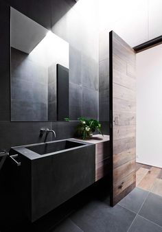 House in Malvern by Robson Rak Architects - Home Decoration - Interior Design Ideas Bad Inspiration, Bathroom Inspiration, Bathroom Interior, Modern Bathroom, Minimal Bathroom, Concrete Bathroom, Interior Decorating, Interior Design, Modern Interior Doors