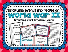 Important People and Events of World War IIIncluded in this product:*World War II Timeline Cards- 45 different  cards with events, dates and descriptionsTimeline graphic organizer25 Task Cards with Higher Level Thinking QuestionsTask Card Recording Sheets*13 Key term cards with matching definition cards*2 foldables to record definitions from vocab cards12 Whos Who in World War II Important Figure SummariesAxis Leaders FoldableAllied Leaders FoldableAmerican Military Leaders FoldableEuropean…