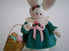 Polymer Clay Bunny Rabbit gathering Eggs in her by HelensClayArt, $13.95