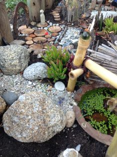 Miniature garden / miniature zen garden city - pond with live greenery, asian bamboo pergola, creek bed with boulders, wood slice patio with Chinese statue, rock patio, wood slice stairs, wood path, mosaic path (top of photo), good-luck horse shoe archway entrance, wooden border fence, twig fence and bonsai crassula gollum trees.