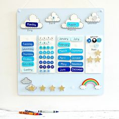 A luxury hand painted wooden calendar to help learn the days, months and dates. Includes a joint reward chart. Toddler Calendar, Preschool Calendar, Classroom Calendar, Calendar For Kids, Kindergarten Calendar, Toddler Learning, Preschool Learning, Learning Activities, Teaching