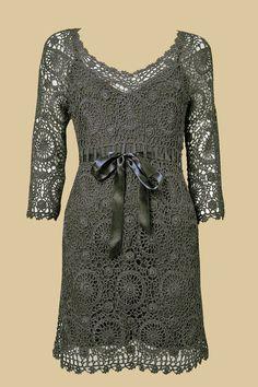 crochet lace dress motifs   Has graphs
