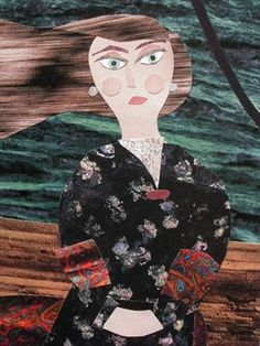 Miss Cotterell was a Martyr to Her Illness  (cut paper collage)  Amanda White. ww.amandawhite-contemporarynaiveart.com