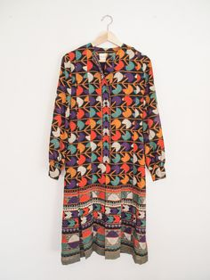 1960's Oscar de la Renta Tribal Print Day Dress by DECADEbyDECADE