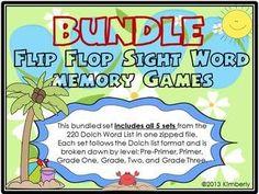 $5 {BUNDLED SET} Flip Flop Sight Word Memory Games: 5 sets in