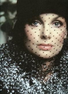 Jean Shrimpton photographed by David Bailey for Vogue UK, September 1973