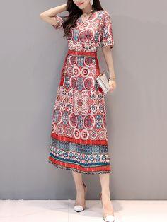 Surplice Lace-Up Printed Maxi Dress-Berrylook #cheapmaxidresses #longmaxidresses