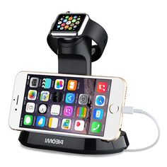 - 1. It is compatible with ALL sizes and models of the 2015 new Apple Watch, including basic, sports and edition models(38mm and 42mm). - 2. Dual stand for your apple watch and Iphone. This watch stan