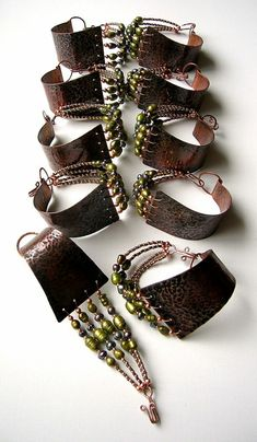 48 Ideas Jewerly Making Copper Cuff Bracelets Copper Cuff, Copper Jewelry, Leather Jewelry, Wire Jewelry, Jewelry Crafts, Jewelry Art, Beaded Jewelry, Jewelry Bracelets, Jewelery