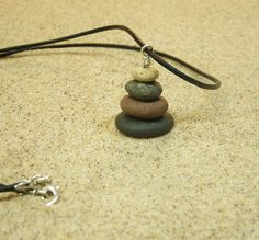 Lake Michigan 20 Inch Pebble Cairn Pendant Necklace with Sterling Silver…