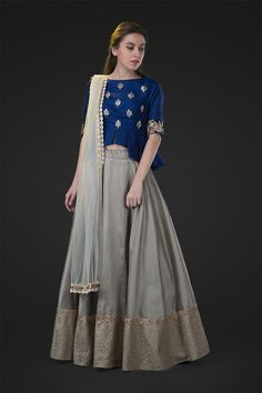 navy blue pepluk top and skirt, crop top and lehenga , friend of the bride style , minimalistic outfits , blue and grey lehenga Indian Skirt, Indian Dresses, Indian Outfits, Indian Blouse, Lehenga Designs, Saree Blouse Designs, Indian Attire, Indian Wear, Indian Style