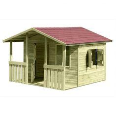Unser großes Kinderspielhaus Lisa. Maße über alles inkl. Dachüberstand (LxBxH): 240 x 226 x 164 cm mit überdachter Terrasse, Fußboden, Doppel-Tür, Fenster und seitlichem Fenster mit Doppel-Fensterläden.
