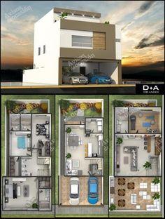Duplex House Plans, New House Plans, Dream House Plans, Small House Plans, House Floor Plans, Contemporary House Plans, Modern House Design, House Construction Plan, Casas The Sims 4