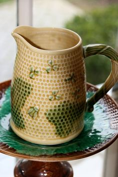 Industrious Beautiful Pretty Green Pitcher Jug Rich In Poetic And Pictorial Splendor Ceramics & Porcelain Pitchers