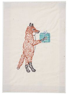 Coral and Tusk - fox with present embroidered stationery