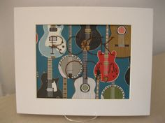 Guitars  ROCK ON  Hand Embroidered Paper  Music by brooklynbelinda, $25.00