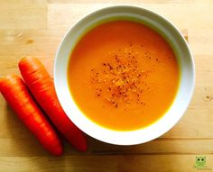 """Recipe for home made Carrot Soup: 4 large carrots (Peeled and chopped) 1/4 Pumpkin (Peeled and chopped) 1"""" ginger 4 cloves garlic 1 large red onion (chopped) Sauté all the ingredients in 1 tbsp olive oil. After it cools, puree the vegetables. Add water and return soup to the pot. Bring soup to a simmer. Add more water if you desire a thinner consistency.  Add sea salt to taste and sprinkle lemon pepper just before serving.  #HealthyRecipe #Health #Nutrition"""