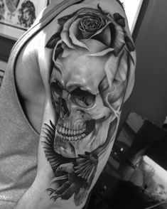 Finished this today on lawrence who literally has arms the size of a thigh! Skull is healed Cheers bro ✌️️ #tattoo #tattoos #tattooed…