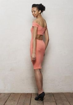 Coral Pink Off Shoulder Bodycon Bardot Dress with Cut Out