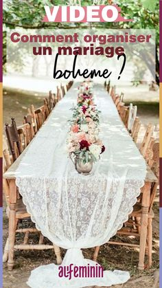 cheap boho decor bohemian long table with vintage chairs and lace tablecloth oly.- cheap boho decor bohemian long table with vintage chairs and lace tablecloth oly photography Wedding Pews, Chic Wedding, Wedding Table, Summer Wedding, Wedding Bouquets, Rustic Wedding, Lace Tablecloth Wedding, Wedding Dresses, Dream Wedding