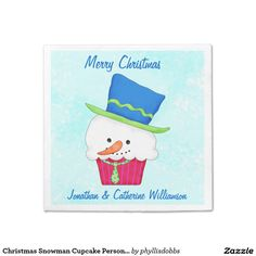 Christmas Snowman Cupcake Personalized Party